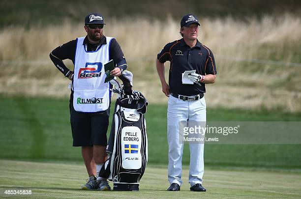 Pelle Edberg of Sweden looks on with his caddie during day one of the DD Real Czech Masters at Albatross Golf Resort on August 27 2015 in Prague...