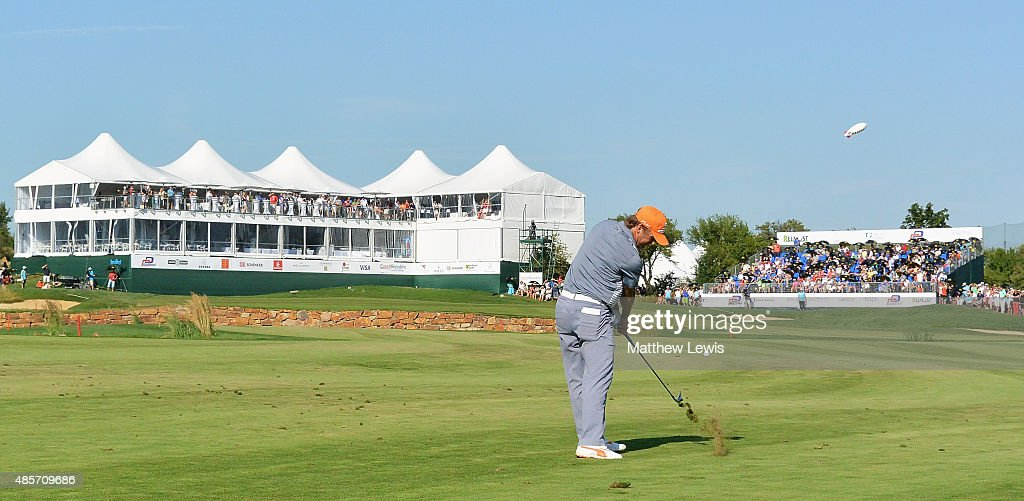 Pelle Edberg of Sweden play his second shot from the 18th fairway during day three of the D+D Real Czech Masters at Albatross Golf Resort on August 29, 2015 in Prague, Czech Republic.
