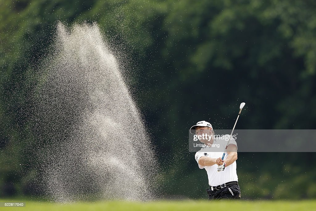 Pelle Edberg of Sweden plays a shot during the first round of the Shenzhen International at Genzon Golf Club on April 21, 2016 in Shenzhen, China.