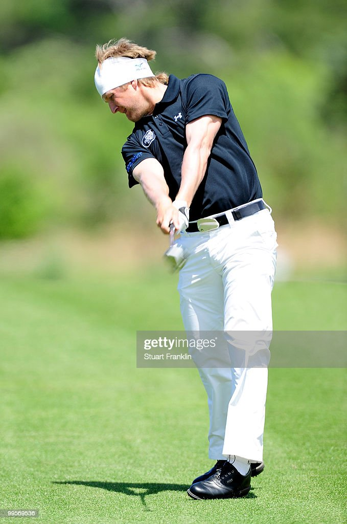 Pelle Edberg of Sweden plays his approach shot on the 10th hole during the third round of the Open Cala Millor Mallorca at Pula golf club on May 15, 2010 in Mallorca, Spain.