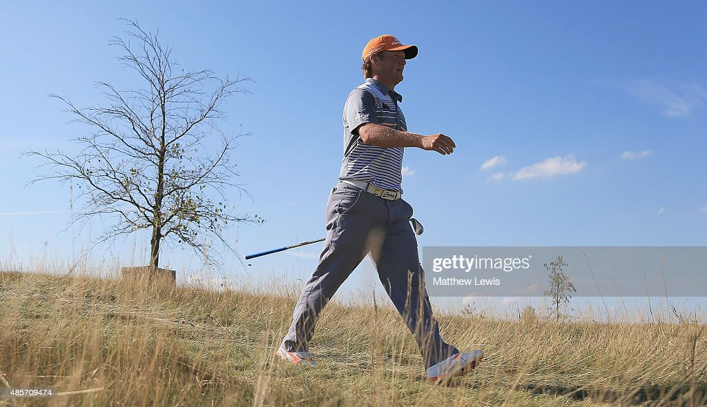 Pelle Edberg of Sweden walks off the 18th tee during day three of the D+D Real Czech Masters at Albatross Golf Resort on August 29, 2015 in Prague, Czech Republic.