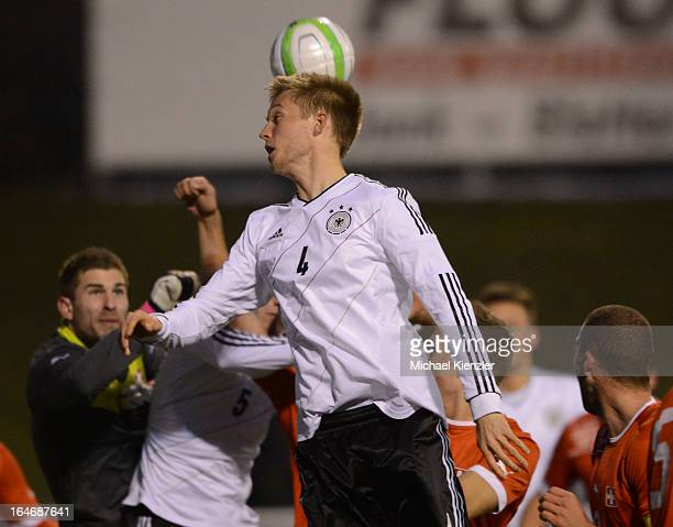 Pelle Jensen of Germany heads the ball during the international friendly match between U20 Switzerland and U20 Germany at Eps Stadium on March 26...