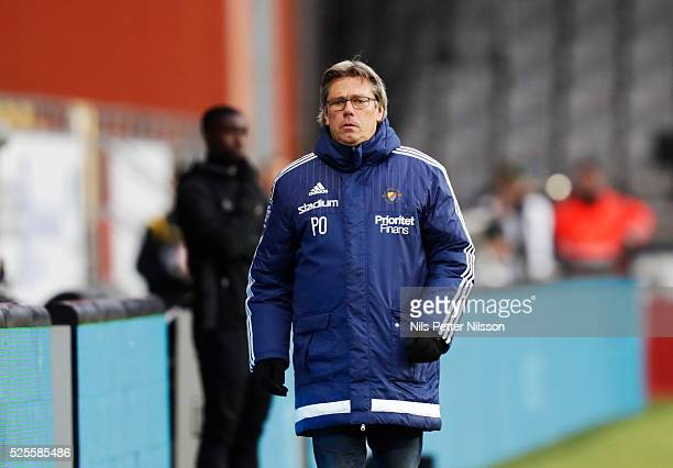 Pelle Olsson head coach of Djurgardens IF during the Allsvenskan match between IF Elfsborg and Djurgardens IF at Boras Arena on April 28 2016 in...