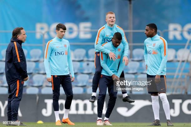 Pelle van Amersfoort of Holland U21 Rick van Drongelen of Holland U21 Juninho Bacuna of Holland U21 Pablo Rosario of Holland U21 during the Training...