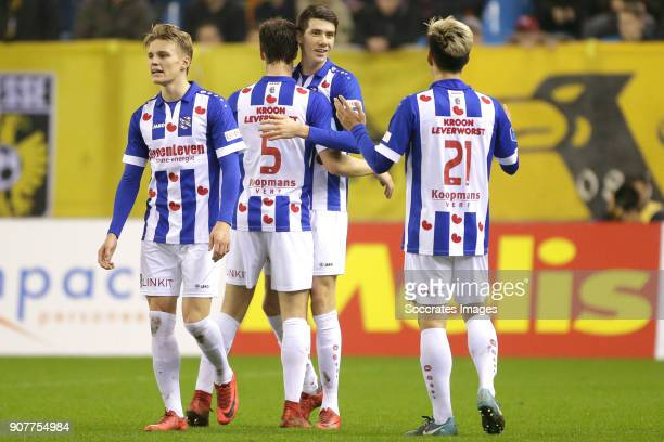 Pelle van Amersfoort of SC Heerenveen celebrates 11 with Martin Odegaard of SC Heerenveen Kik Pierie of SC Heerenveen Yuki Kobayashi of SC Heerenveen...