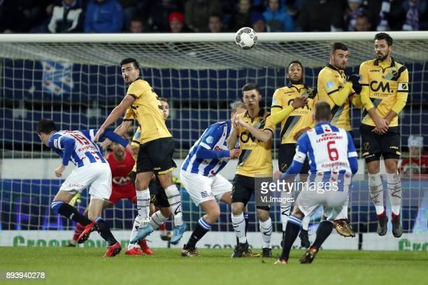 Pelle van Amersfoort of sc Heerenveen goalkeeper Mark Birighitti of NAC Breda Gianluca Nijholt of NAC Breda Jose Angelino of NAC Breda Henk Veerman...