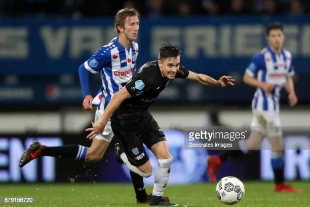 Pelle van Amersfoort of SC Heerenveen Ryan Thomas of PEC Zwolle during the Dutch Eredivisie match between SC Heerenveen v PEC Zwolle at the Abe...