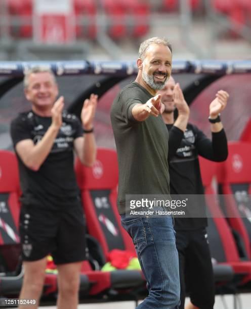 Pellegrino Matarazzo of VfB Stuttgart celebrates after the fifth goal during the Second Bundesliga match between 1. FC Nürnberg and VfB Stuttgart at...