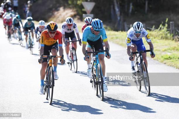 Pello Bilbao of Spain and Team Bahrain - Mclaren / Hugo Houle of Canada and Astana Pro Team / Julian Alaphilippe of France and Team Deceuninck -...