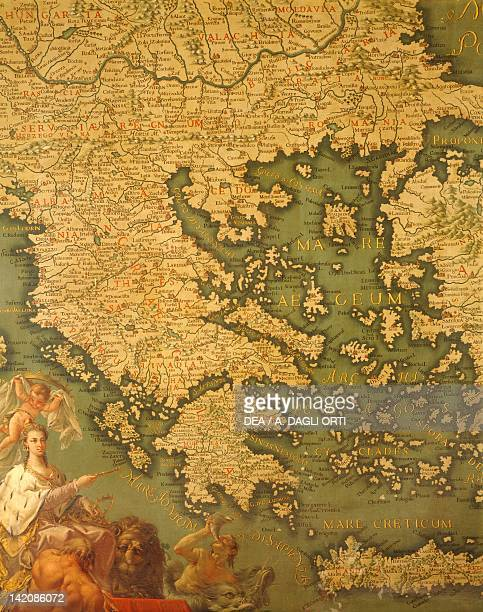 Peloponnese, by Giovanni Battista Ramusio , Hall of Maps, The Doge's Palace , Venezia, 16th Century. Canvas.