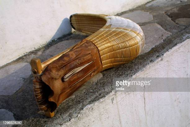 Pelota or Chistera glove on the front wall, in the village of Guethary, in the Basque Country.