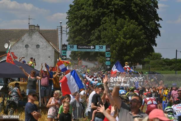 Peloton / Auberchicourt Cobblestones / Public / Fans / Landscape / during the 105th Tour de France 2018 Stage 9 a 1565 stage from Arras Citadelle to...