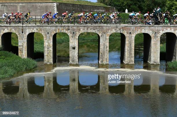 Peloton / Bridge / Daniel Oss of Italy and Team Bora Hansgrohe / Landscape / during the 105th Tour de France 2018, Stage 9 a 156,5 stage from Arras...
