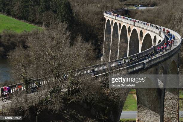 Peloton / Bridge / Landscape / during the 77th Paris Nice 2019 Stage 4 a 212km race from Vichy to Pélussin 443m / PN / @ParisNice / on March 13 2019...