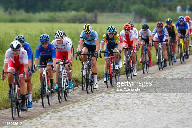 Peloton / Cobblestones / during the 25th UEC Road European Championships 2019 - U23 Women's Road Race a 92km race from Alkmaar to Alkmaar /...