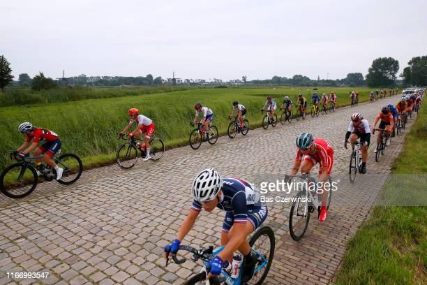 Peloton / Cobblestones / during the 25th UEC Road European Championships 2019 - U23 Women's Road Race a 92km race from Alkmaar to Alkmaar /...