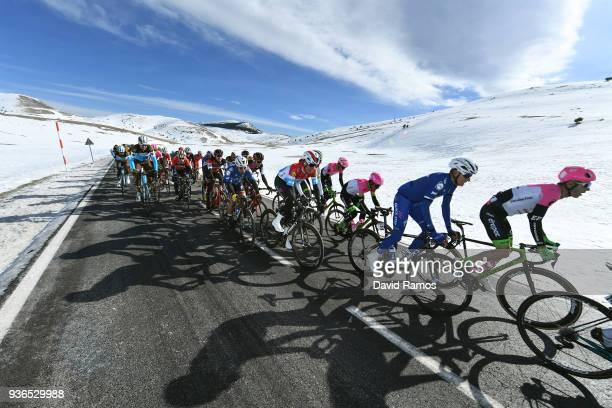 Peloton / Col de La Creueta 1925m, Snow / during the 98th Volta Ciclista a Catalunya 2018, Stage 4 a 170,8km stage from Llanars-Vall De Camprodon to...