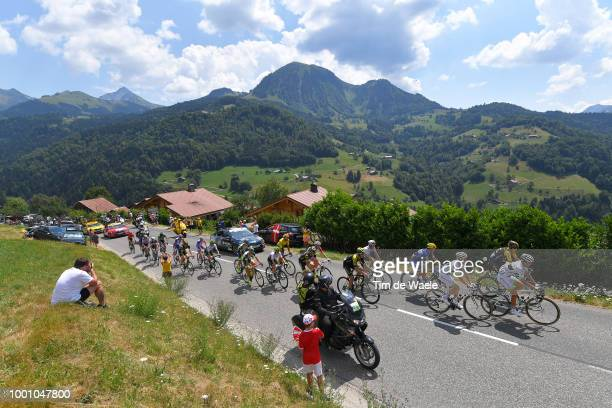 Peloton / Col de la Croix Fry Mountains / Landscape / Stage 10 a 158,5km stage from Annecy to Le Grand-Bornand 943m on July 17, 2018 in Le...