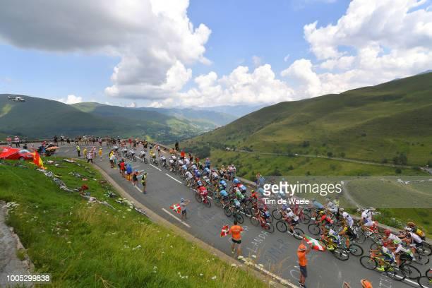 Peloton / Col de Val Louron Azet Mountains / Landscape / during the 105th Tour de France 2018, Stage 17, a 67km stage from Bagneres-de-Luchon to...