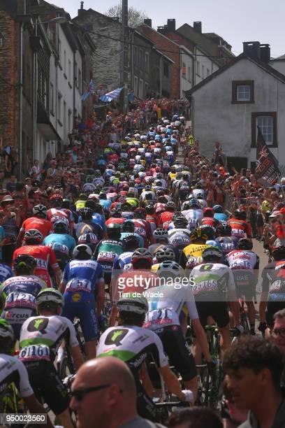 Peloton / Cote de SaintRoch Mountains / Landscape / during the104th LiegeBastogneLiege 2018 a 2585km race from Liege to LiegeAns on April 22 2018 in...