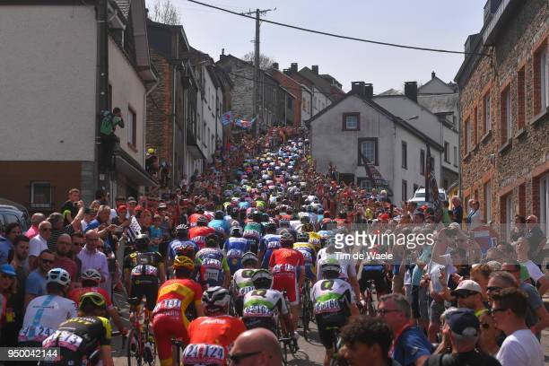 Peloton / Cote de Saint-Roch Mountains / Landscape / during the104th Liege-Bastogne-Liege 2018 a 258,5km race from Liege to Liege-Ans on April 22,...