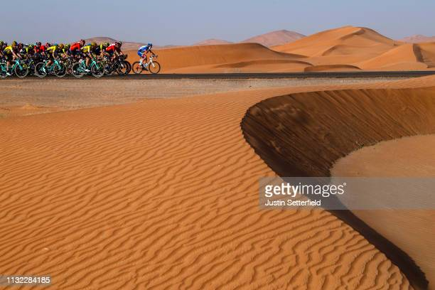 Peloton / Desert / Landscape / during the 5th UAE Tour 2019, Stage 3 a 179km stage from Al Ain to Jebel Hafeet 1024m / #UAETour / on February 26,...