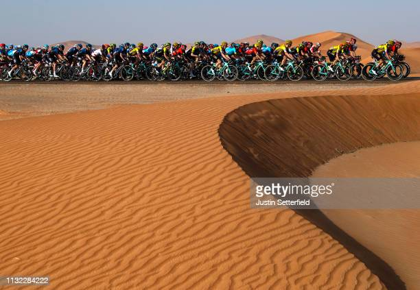 Peloton / Desert / Landscape / during the 5th UAE Tour 2019 Stage 3 a 179km stage from Al Ain to Jebel Hafeet 1024m / #UAETour / on February 26 2019...