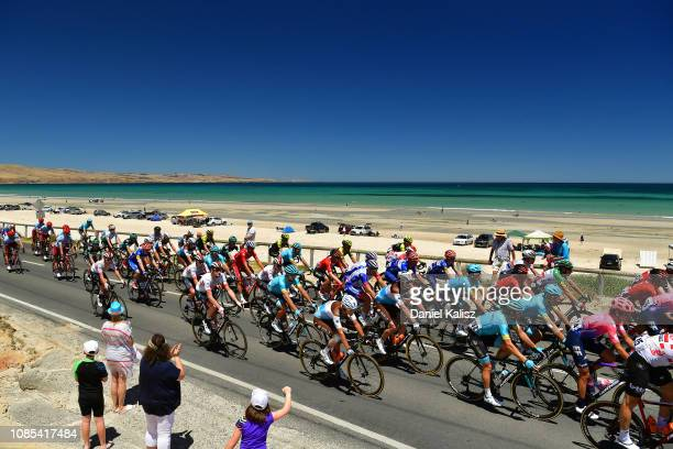 Peloton / Fans / Landscape / Sea / during the 21st Santos Tour Down Under 2019, Stage 6 a 151,5km stage from McLaren Vale to Willunga Hill 374m / TDU...