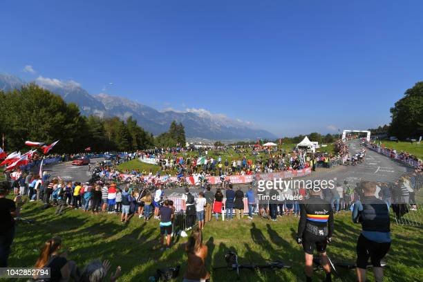 Peloton / Fans / Public / Landscape / Mountains / during the Women Elite Road Race a 1562km race from Kufstein to Innsbruck 582m at the 91st UCI Road...
