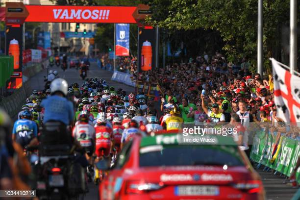 Peloton / Feed Zone / during the 73rd Tour of Spain 2018, Stage 21a 100,9km stage from Alcorcon to Madrid / La Vuelta / on September 16, 2018 in...