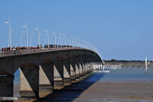 Peloton / La Seudre Viaduct / Ile d'Oleron / Bridge / Landscape / during the 107th Tour de France 2020, Stage 10 a 168,5km stage from ile d'Oleron -...