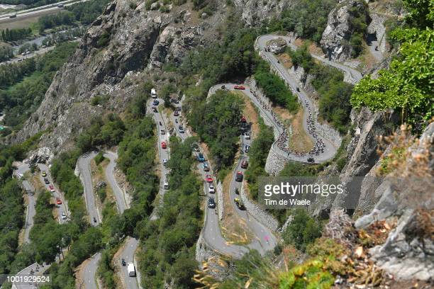 Peloton / Lacets De Montvernier / Mountains / Landscape / during the 105th Tour de France 2018 Stage 12 a 1755km stage from BourgSaintMaurice Les...