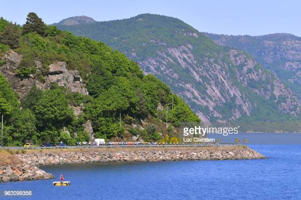 Peloton / Lake / Landscape / during the 11th Tour des Fjords 2018 Stage 3 a 183km stage from Farsud to Egersund on May 24 2018 in Egersund Norway