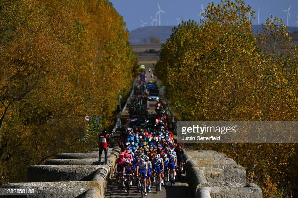 Peloton / Landscape / Breakaway / during the 75th Tour of Spain 2020, Stage 9 a 157,7km stage from Cid Campeador Military Base, Castrillo del Val to...