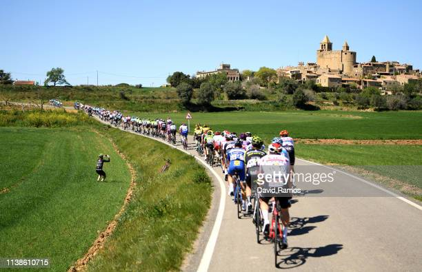 Peloton / Landscape / Castle / Photographer / during the 99th Volta Ciclista a Catalunya 2019, Stage 3 a 179km stage from Sant Feliu de Guíxols to...