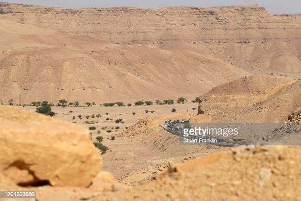 Peloton / Landscape / Desert / during the 1st Saudi Tour 2020, Stage 4 a 137km stage from Wadi Namar Park to Al Muzahimiyah King Saud University /...