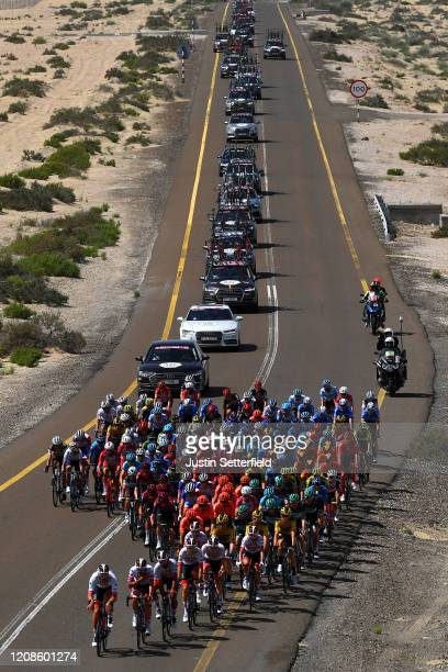 Peloton / Landscape / Desert / during the 6th UAE Tour 2020, Stage 3 a 184km stage from Al Qudra Cycle Track to Jebel Hafeet 1032m / #UCIWT /...