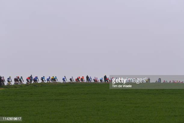 Peloton / Landscape / during the 117th Paris-Roubaix a 257km race from Compiègne to Roubaix / @Paris_Roubaix / #ParisRoubaix / PRBX / L'Enfer du Nord...