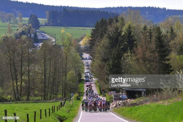 Peloton / Landscape / during the 2nd LiegeBastogneLiege 2018 a 136km women's race from Bastogne to LiegeAns on April 22 2018 in Liege Belgium