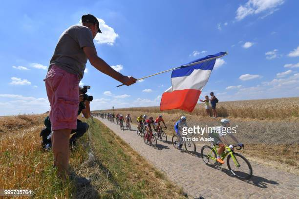 Peloton / Landscape / Fans / Public / during the 105th Tour de France 2018 Stage 9 a 1565 stage from Arras Citadelle to Roubaix on July 15 2018 in...