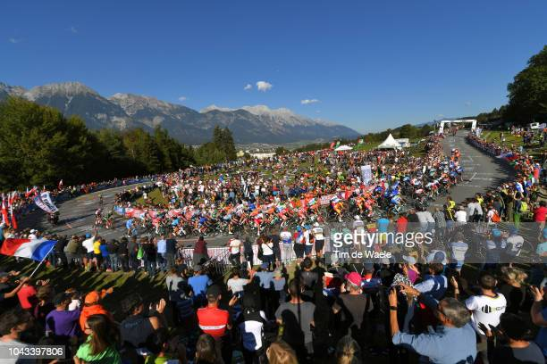 Peloton / Landscape / Fans / Public / Mountains / during the Men Elite Road Race a 2585km race from Kufstein to Innsbruck 582m at the 91st UCI Road...