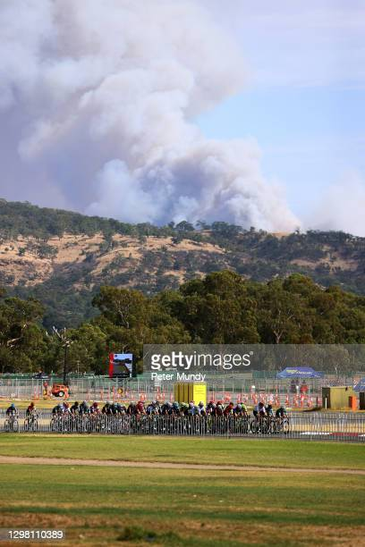 Peloton / Landscape / Fire / during the 1st Santos Festival of Cycling, Women's Stage 4 a 60 minutes + 1 Lap circuit stage from Victoria Park to...