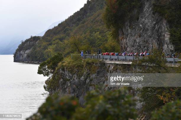 Peloton / Landscape / Lake / during the 113th Il Lombardia 2019 a 243km race from Bergamo to Como / #ILombardia / @Il_Lombardia / on October 12, 2019...