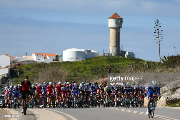 Peloton rides during the 2nd stage of the cycling Tour of Algarve between Sagres and Alto do Foia on February 15 2018