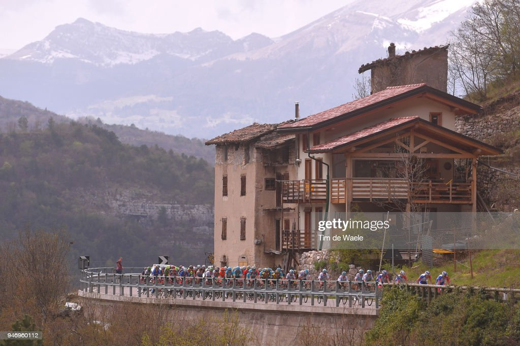 Peloton / Serrada 1256m Mountains / Landscape / during the 42nd Tour of the Alps 2018, Stage 1 a 134,6km stage from Arco to Folgaria 1160m on April 16, 2018 in Folgaria, Italy.
