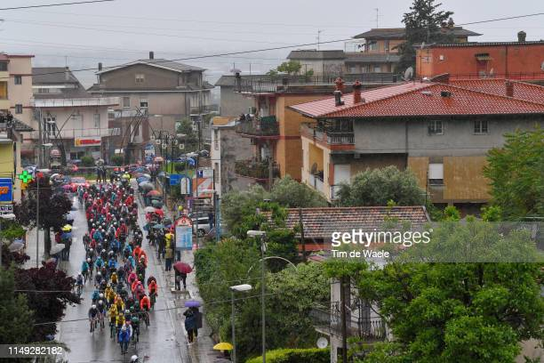 Peloton / Sezze Scalo Village / Fans / Public / Rain / Landscape / during the 102nd Giro d'Italia 2019, Stage 5 a 140km stage from Frascati to...