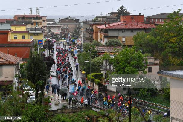 Peloton / Sezze Scalo Village / Fans / Public / Rain / Landscape / during the 102nd Giro d'Italia 2019 Stage 5 a 140km stage from Frascati to...