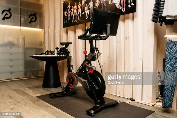 Peloton stationary bike sits on display at one of the fitness company's studios on December 4, 2019 in New York City. Peloton and its model of...