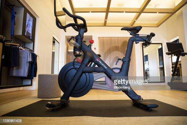 Peloton stationary bikes for sale at the company's showroom in Dedham, Massachusetts, U.S., on Wednesday, Feb. 3, 2021. Peloton Interactive Inc. Is...