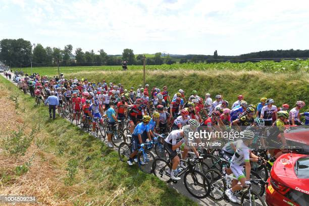 Peloton stopped due to manifestation and launched tear gas / Landscape / Peloton / during the 105th Tour de France 2018 Stage 16 a 218km stage from...